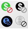 forbidden dollar eps icon with contour vector image