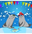 Fur seal pup in colorful hat vector image