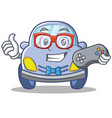 gamer cute car character cartoon vector image vector image