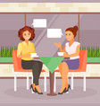 girlfriends in a cafe vector image