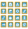 insurance icons set sapphirine square vector image vector image