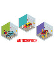 isometric car repair maintenance autoservice vector image