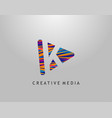 k letter logo play media concept design perfect vector image vector image