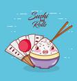 kawaii rice in bowl sticks food japanese cartoon vector image vector image