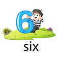 little artist boy act with the 6 balloon number vector image vector image