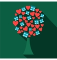 Love tree with hearts and gift boxes flat icon vector image