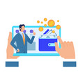 male hands holding tablet with business advisor vector image vector image