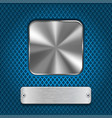 metal square button and rivetted steel plate on vector image vector image