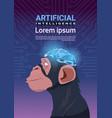 monkey head with modern cyborg brain over circuit vector image vector image