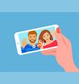 online video call smartphone flat vector image