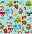 seamless pattern winter season icons decoration vector image