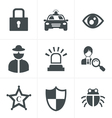 Security icon set on white background vector image vector image