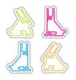 set of four line acid rabbits vector image vector image