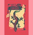 shirt design with gecko lizard vector image vector image