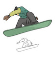 snowboarder jumping in the air vector image vector image
