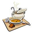 soup with bread vector image vector image