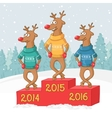 three deer on a pedestal Winter forest landscape vector image vector image