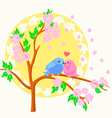 Two birds sitting on the branch vector image