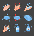 virus protection icons washing hands face mask vector image vector image