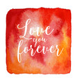 watercolor valentines love card template vector image