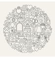 Wedding Line Icons Circle vector image vector image