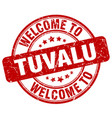 welcome to tuvalu red round vintage stamp vector image vector image