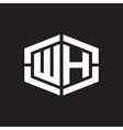 wh logo monogram with hexagon shape and piece vector image vector image