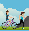 women with bicycle in the landscape vector image