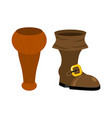 wooden pirate leg and boot wood filibuster vector image