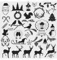 chrismas slhouettes collection vector image