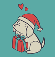 Hand Drawn Dog Holding a Present vector image