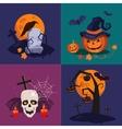 Halloween Pumpkin Skull and Grave vector image