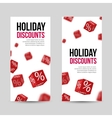3D Discount Holiday SALE Red Box Banners for vector image vector image