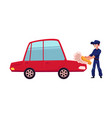 auto mechanic cleaning washing polishing a car vector image