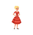 beautiful blonde young woman in red dress girl in vector image vector image