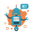 blue robot with speech bubble vector image vector image