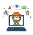 cartoon laptop guy icons web design vector image
