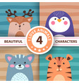 cartoon set animals - deer penguin cat tiger vector image
