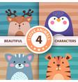 cartoon set animals - deer penguin cat tiger vector image vector image