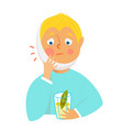 child boy with toothache sad and unhappy vector image