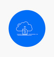 cloud upload save data computing white line icon vector image
