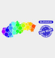 colored mosaic slovakia map and scratched gdpr vector image vector image