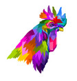 colorful head rooster in pop art geometry style vector image