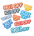 Colorful Paper Cut Discount Stickers Labels Set vector image vector image