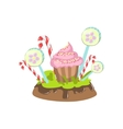 Cupcake Hard Candy Stick And Lollypop Vegetation vector image vector image