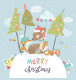 cute cartoon deer family merry christmas and vector image vector image