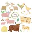 Cute farm animals set on white background