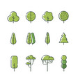 different types tree icon set vector image