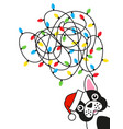 dog bulldog tangled christmas lights greeting card vector image vector image