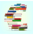 Euro sign from stacks of multi colored books vector image